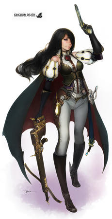 boots brunette cape crossbow gloves kingdom_death long_hair sword // 525x1024 // 175.8KB