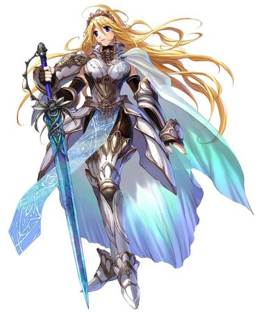 amor blonde blue_eyes breastplate cape gloves greaves long_hair sword // 1148x1364 // 247.0KB