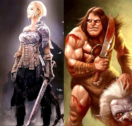 barbarian blonde blood brunette chainmail composite gauntlets sword // 629x597 // 141.8KB