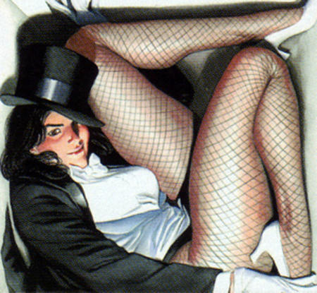brunette dc fishnet gloves hat high_heels jacket zatanna // 585x540 // 166.0KB