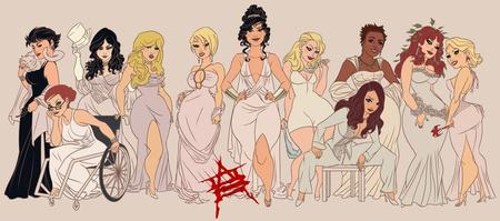 black_canary blonde brunette catwoman cleavage dc dress gown group harley_quinn high_heels oragle poison_ivy power_girl redhead wonder_woman zatanna // 1026x453 // 114.6KB