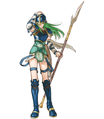 armor boots breastplate green_eyes green_hair helmet long_hair shield short_skirt skirt spear // 1400x1600 // 720.9KB