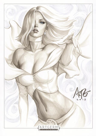 blonde blue_eyes bustier choker emma_frost gloves x-men // 703x995 // 190.2KB