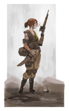 boots cigarette gloves ponytail redhead rifle vest // 746x1200 // 77.6KB
