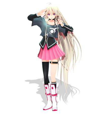 blonde blue_eyes boots cg long_hair short_skirt skirt vocaloid // 2100x2500 // 1.3MB