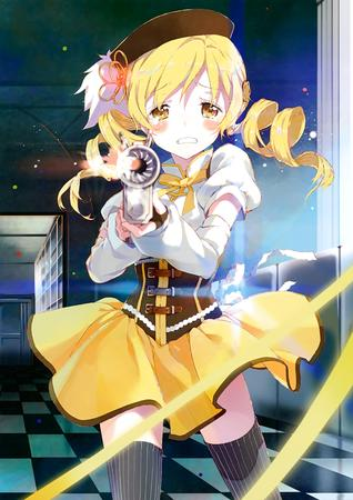 blonde dress gloves hat puella_magi_madoka_magica rifle thighhighs twintails // 2828x4000 // 1.4MB