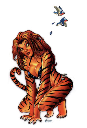 amanda_conner barefoot bikini claws cleavage marvel redhead swimsuit tail tigra // 1144x1672 // 761.2KB