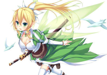 blonde boots cleavage elf fairy green_eyes katana lyfa ponytail shorts sword sword_art_online thighhighs wings // 1200x849 // 521.7KB