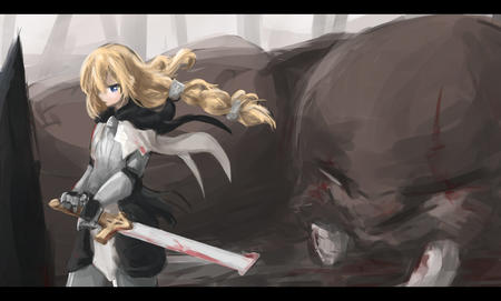 armor blonde blue_eyes braids female_knight gauntlets long_hair maoyuu_maou_yuusha sword walrus // 1650x993 // 491.4KB