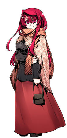 long_hair long_skirt maou maoyuu_maou_yuusha oppai redhead scarf skirt sweater // 926x1900 // 380.6KB