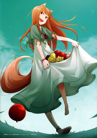 apple barefoot fox_ears horo long_skirt shawl skirt spice_and_wolf tail // 4890x6956 // 7.0MB
