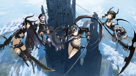 bikini black_rock_shooter boots brunette gloves group horns katana long_hair oversized_weapon scythe shorts sword thighhighs twintails // 2288x1286 // 1.8MB