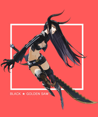 black_rock_shooter boots brunette claws cleavage gauntlets jacket long_hair oversized_weapon shorts short_shorts sword thighhighs // 1012x1214 // 395.1KB