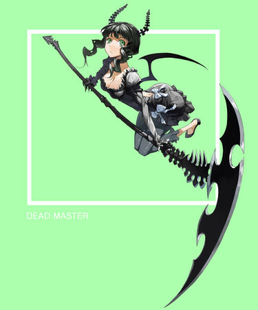 black_rock_shooter brunette claws cleavage dress gauntlets green_eyes horns scythe wings // 1012x1214 // 334.3KB