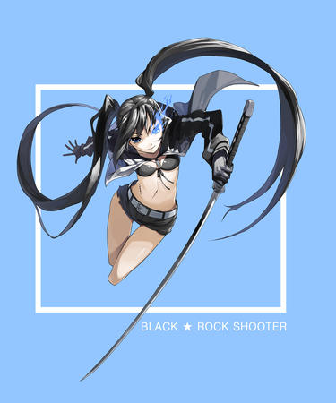 bikini black_rock_shooter blue_eyes brunette gloves jacket katana long_hair short_shorts shorts sword twintails // 1012x1214 // 385.4KB