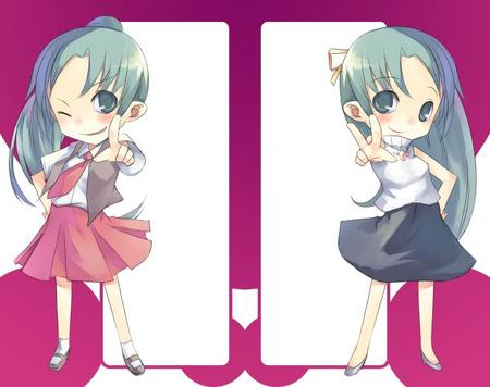 green_eyes green_hair higurashi mion necktie ponytail shion skirt sweater wink // 632x500 // 40.7KB