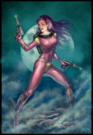 brunette gloves jumpsuit moon purple_hair raygun sci-fi // 700x1009 // 149.4KB