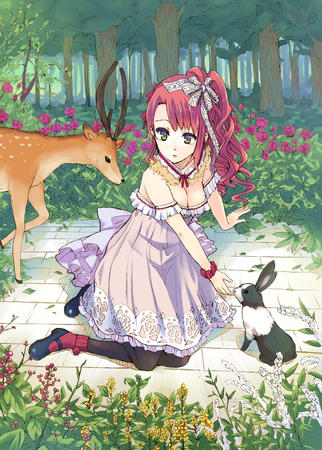 cleavage deer dress green_eyes pink_hair ponytail rabbit // 2494x3487 // 7.7MB