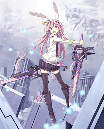 bunny chainsaw hood long_hair pink_hair pleated_skirt short_skirt skirt skyline sweatshirt thighhighs // 1000x1234 // 366.6KB