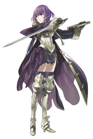 armor book breastplate fire_emblem gloves greaves high_heels jacket purple_hair short_skirt skirt sword thighhighs // 2627x3902 // 655.5KB