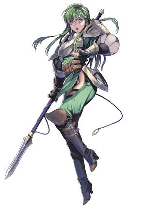 armor blue_eyes boots breastplate fire_emblem gloves green_hair high_heels pauldrons spear thighhighs // 2591x3840 // 654.1KB