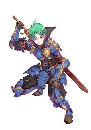 armor blue_eyes breastplate fire_emblem gauntlets greaves green_hair pauldrons sword // 4960x7015 // 2.2MB