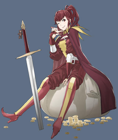 boots brunette cape fire_emblem gloves high_heels money ponytail sword wink // 2828x3345 // 628.7KB