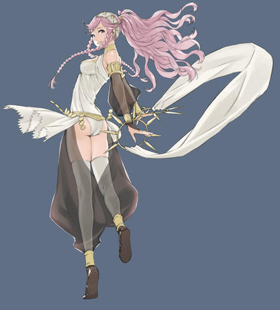 braids fire_emblem long_hair pink_hair ponytail thighhighs // 3413x3774 // 736.4KB