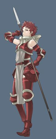 breastplate fire_emblem gauntlets greaves redhead short_hair spear // 1424x3500 // 439.4KB