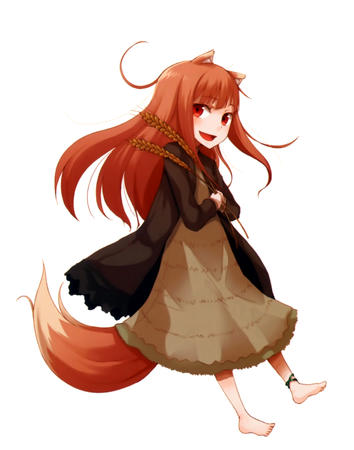 barefoot dress fox_ears horo long_hair spice_and_wolf tail wheat // 2162x2747 // 846.8KB