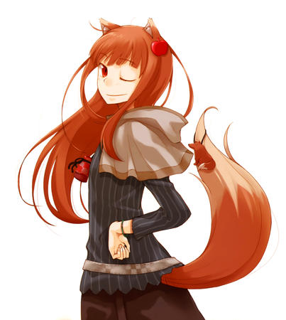 fox_ears horo long_hair shawl spice_and_wolf tail wink // 4862x5432 // 3.6MB