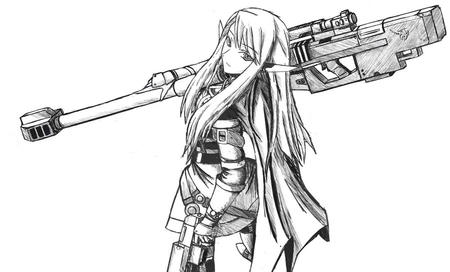 bw elf gun long_hair oversized_weapon rifle // 900x544 // 96.1KB