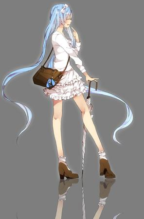 blue_hair boots high_heels long_hair short_skirt skirt twintails umbrella // 2300x3500 // 561.5KB