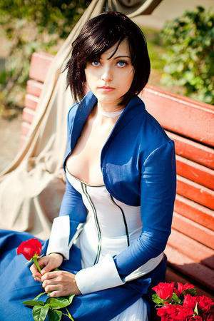 bioshock blue_eyes brunette dress elizabeth flower photo // 620x930 // 155.9KB