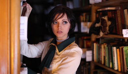 bioshock blue_eyes book brunette elizabeth library photo // 970x564 // 85.2KB