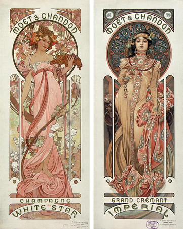 art_nouveau blonde brunette mucha wine // 1400x1744 // 623.0KB