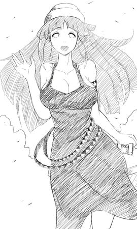 bw cleavage dress long_hair oppai sketch // 2222x3700 // 4.1MB