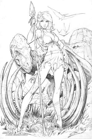 barbarian barefoot blonde bw cleavage dinosaur flow mike_debalfo ripped_clothes skirt spear // 4158x6298 // 1.9MB