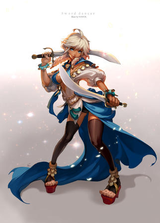 blonde blue_eyes braids sandals sword thighhighs white_hair // 1200x1678 // 676.9KB