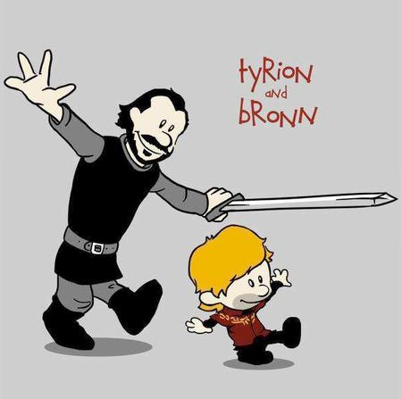 a_song_of_ice_and_fire bronn calvin calvin_and_hobbes hobbes sword tyrion // 593x589 // 189.0KB