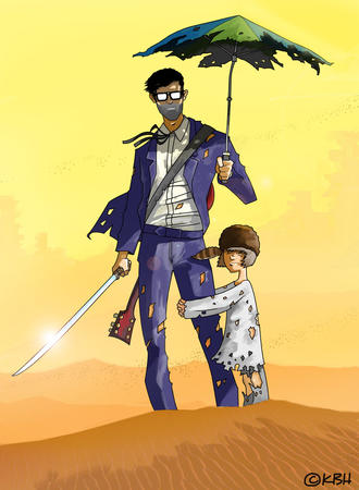 desert glasses guitar katana six_string_samurai suit sword umbrella // 900x1226 // 168.0KB