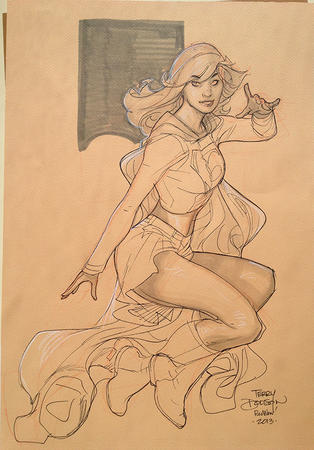 blonde boots cape dc sketch skirt supergirl terry_dodson // 697x1000 // 689.3KB