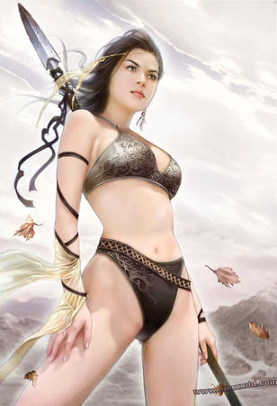 barbarian bikini brunette spear // 750x1096 // 125.4KB