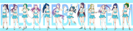 baton blonde blue_hair brunette cheerleader green_hair group long_hair pleated_skirt ponytail purple_hair short_skirt skirt thighhighs // 4205x1000 // 2.7MB