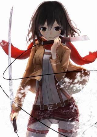 brown_eyes brunette jacket mikasa_ackerman scarf shingeki_no_kyojin sword // 723x1024 // 148.2KB