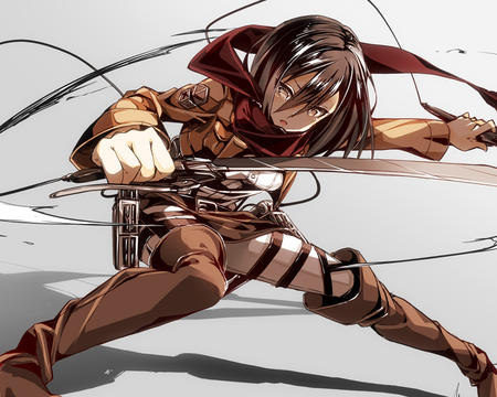 brunette jacket mikasa_ackerman scarf shingeki_no_kyojin sword // 1000x800 // 437.1KB