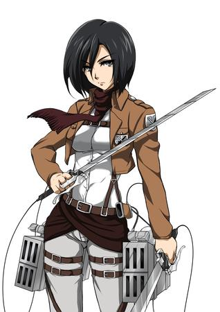 brunette jacket mikasa_ackerman scarf shingeki_no_kyojin sword // 827x1169 // 304.6KB