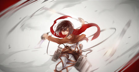 brunette desktop jacket mikasa_ackerman scarf shingeki_no_kyojin sword // 2000x1046 // 836.8KB