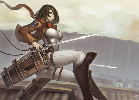 boots brown_eyes brunette desktop jacket mikasa_ackerman scarf shingeki_no_kyojin sword // 2287x1649 // 302.2KB