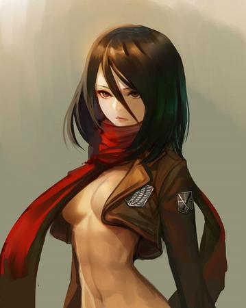 brunette cleavage jacket mikasa_ackerman scarf shingeki_no_kyojin // 550x689 // 53.8KB